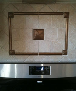 Oak and Stone Flooring, Decorative Backsplash