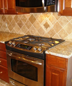 Oak and Stone Flooring, Travertine Backsplash