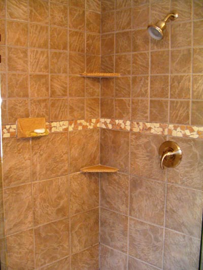 A brushed nickel shower head and frameless shower door