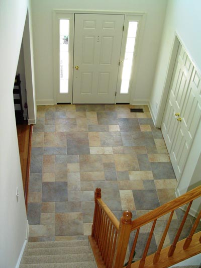 Upstairs view of tile pattern floor